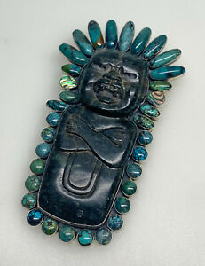 Gigantic FEDERICO JIMENEZ Sterling Silver TURQUOISE Carved Totem PENDANT/BROOCH