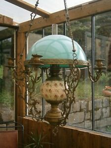 ANCIEN LUSTRE A SUSPENSION NAPOLEON LAMPE A PETROLE OPALINE  Epoque XIX°
