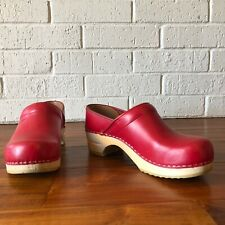 Sanita Red Leather Clogs Wooden Danish Size 39
