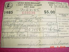 1985 utah no-resident 1 day fishing license any age