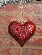 Pier 1 Imports Valentines Day Glitzy Red Styrofoam Heart Ornament