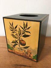 Vtg donAndres Designers Decoupage Fair Acres Pumpkin Tissue Box Cube Cover