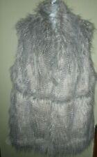 Roaman's Faux Mongolian Lamb Fur Vest 30W Gray & Cream w/ Vegan Leather Trim 4X