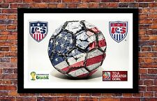 World Cup Soccer Events | Team USA Soccer Ball Poster | 19 x 13 inches