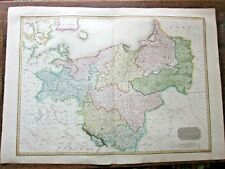 1810 Antique Map Prussia Pinkerton Poland Germany Breslaw Konigsberg Large 80x56