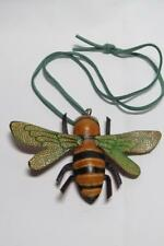 CG3554...REAL LEATHER BEE PENDANT ON SUEDE CORD - FREE UK P&P