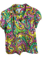 Caribbean Joe Womens 1X Colorful Floral Print Short Sleeve V Neck Stretch Top
