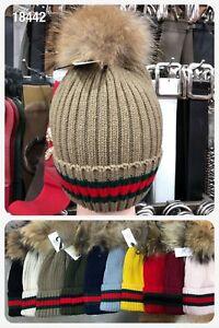 WINTER CAP HAT DESIGNER INSPIRED FUR BALL POM POM KNITTED LADIES WOMEN BEANIE