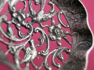 Old Dutch .833 Silver pierced Bon Bon Spoon pierced bowl figural birds & handle