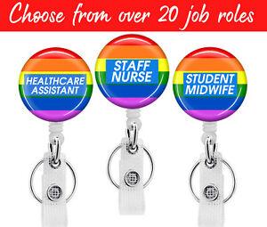Rainbow Nurse NHS Healtcare Badge Reel Pass Retractable Card Holder Lanyard Clip
