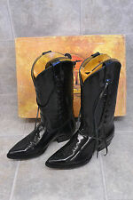 Rebelde Black Leather Cowboy Boots Size 27 Made in Mexico