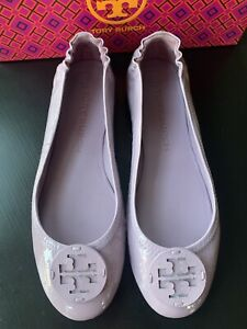 NIB Tory Burch Minnie Travel Ballet Flats Shoes Lilac Patent Leather 9.5M