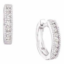 14kt White Gold Womens Round Diamond Milgrain Hoop Earrings 1/4 Cttw