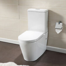 Close Coupled Dual Flush Bathroom Toilet White Gloss Ceramic Soft Seat Pan