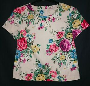 Cath Kidston Hampshire Rose Short-Sleeve Top / Blouse, Back Zip (size 10)