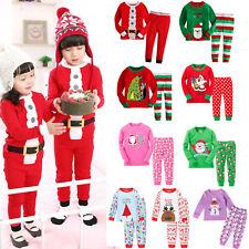 2pcs Kids Boys Christmas Reindeer Pajamas Sleepwear Nightwear Pyjamas Set Outfit