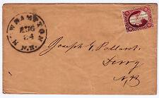 """#11A - 3 Cent 1851-57, Green """"NEW HAMPTON/AUG/24/N.H."""" CDS & Green 7-bar grid"""