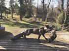SOLID  Bronze Sculpture of Fox Carrying a Hare in it's Mouth  - FREE SHIP