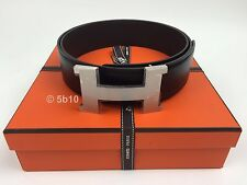 BRAND NEW HERMES 42mm REVERSIBLE LEATHER BELT AND SLIVER H BUCKLE