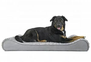 Luxury Dog bed Orthopeadic Ultra Plush Faux Fur Luxe Lounger Large