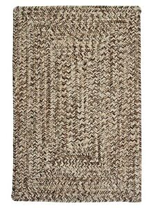 Corsica Weathered Brown Country Farmhouse Concentric Rectangle Braided Area Rug