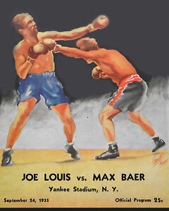 Joe Louis vs Max Baer Fight Program (1935), 8x10 Color Photo
