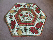 "Handmade Christmas Table Linen Quilted Poinsettias 23"" Green Red Gold White Revs"