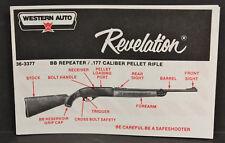 NOS Western Auto Revelation BB Air Gun Rifle By Crosman, Owners Manual  36-3377