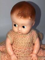 "Vtg Ideal Boopsie Dressed Baby Doll 8"" Blue Sleepy Sideways Eyes Hard Plastic"