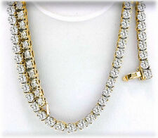 14.5 ct, Round Diamond Tennis Necklace 4 prong 14k Yellow Gold 94 x 0.15 ct each