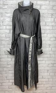 Mycra Pac Designer Wear Reversible Raincoat Ankle Length Charcoal/Silver USA XL