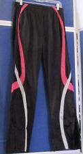 EUC Gorgeous ATHLETIC PANTS by GTM SPORTSWEAR Blk w. PINK & Gray ZIP Ankle Sz  L