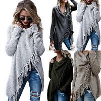 Ladies Women Irregular Tassel Cardigan Cape Coat Long Sleeve Shawl Jacket Casual