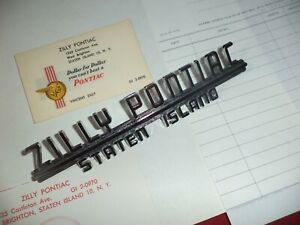 """1953 54 NOS-""""ZILLY PONTIAC"""" Staten Is. NY OFFICIAL DEALER EMBLEM & STATIONARY"""