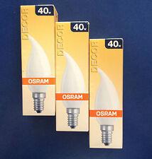 3 x OSRAM bombilla vela Golpe de viento Satinado 40W E14 Lámpara Decoración