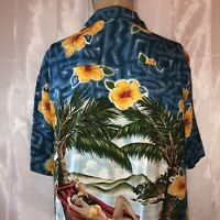 Kennington Hawaiian Mens Large L Floral Short Sleeve Shirt 100% Rayon