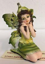 "Miniature Leaf Green Garden Fairy Figurine Statue 3"" H Small Faery Collection"
