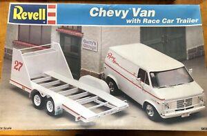 VINTAGE REVELL CHEVY van w/ race car trailer. Kit #7250
