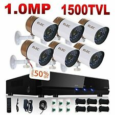 Security Video Camera System DVR CCTV 8CH & 6 Surveillance Cameras Motion Detec