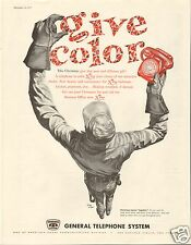 "1957 General Telephone System Christmas ""Give Color"" Red Phone LARGE Print Ad"