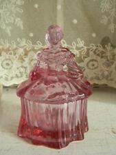 Lovely Mosser Amethyst Colonial Lady Powder Box~MINT!