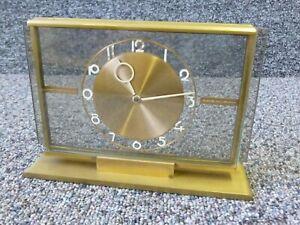 Art Deco Brass & Glass Mantle Clock