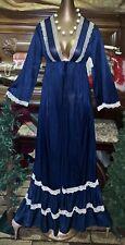 New listing Vintage Nos Navy Caftan Sheer Chantilly Antique Lace Sexy Nylon Peignoir Robe M