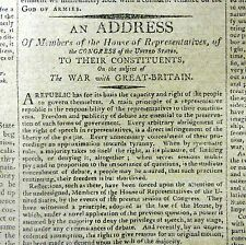 War of 1812 All Original Rare Columbian Centinel, 7/8/12 War With Great Britain