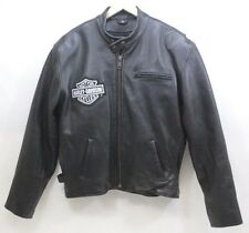 Harley Davidson Black Genuine Leather Thinsulate 3M Motorcycle Jacket - Size 46