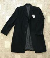 Mens Hickey Freeman Cashmere Blend Coat Black Size 42S Short Button Front