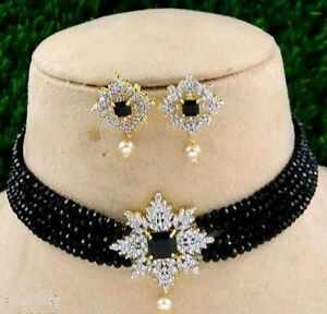 Indian Pakistani Bollywood American Diamond Pearl Choker Necklace Gold Plated