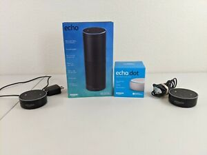 Lot of 2 Amazon Echo Dot 2nd Gen Black, 1 Echo Dot 3rd Gen White & Echo SK705DI