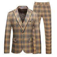 Yellow Men Plaid Suit Vintage Groom Tuxedo Prom Party Dinner Casual Wedding Suit