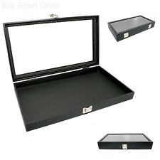 Display Box Glass Top Lid Large Case Medals Awards Jewelry Black Leather New